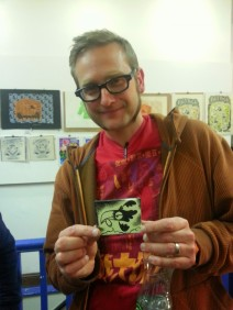 Illustrator Andy Hamilton celebrating Culture Night in the White Lady Gallery